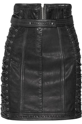 BALMAIN Lace-up leather mini skirt