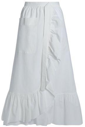 BOUTIQUE MOSCHINO Ruffle-trimmed cotton-poplin skirt