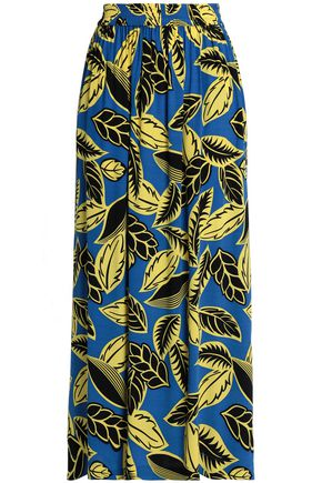 BOUTIQUE MOSCHINO Pleated floral-print crepe de chine maxi skirt