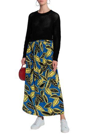 9526e15c827 BOUTIQUE MOSCHINO Pleated floral-print crepe de chine maxi skirt