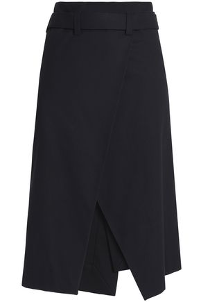 CEDRIC CHARLIER Belted cotton-blend twill wrap skirt