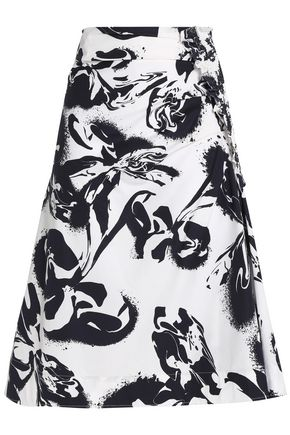 CEDRIC CHARLIER Gathered printed cotton-blend poplin skirt