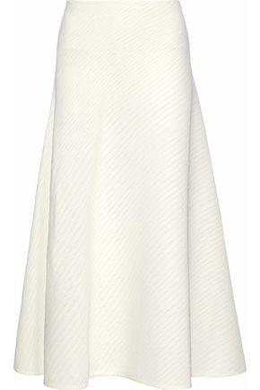 ROLAND MOURET Brent paneled plissé-crepe midi skirt