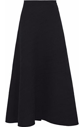 ROLAND MOURET Brent crepe-paneled plissé-crepe midi skirt