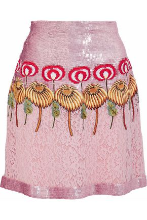TEMPERLEY LONDON Embellished silk corded lace mini skirt