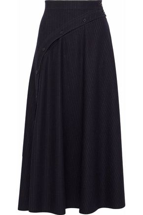 NINA RICCI Pinstriped wool-blend midi skirt
