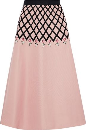 TEMPERLEY LONDON Flared embroidered cotton midi skirt