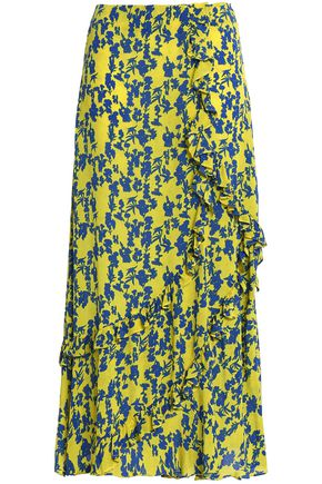 PREEN LINE Hattie ruffle-trimmed floral-print crepe midi skirt