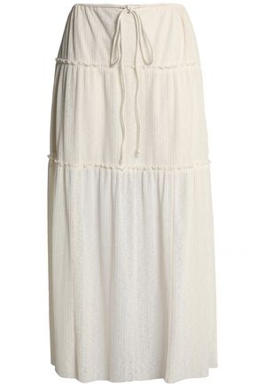 SEE BY CHLOÉ Ruffle-trimmed ribbed-knit maxi skirt