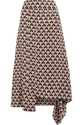 MARNI Asymmetric draped printed silk midi skirt