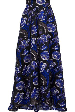 TEMPERLEY LONDON Flared metallic brocade maxi skirt
