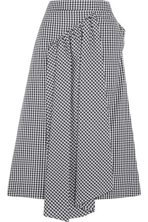 SIMONE ROCHA Asymmetric gingham cotton midi skirt