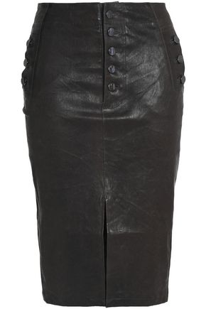 J BRAND Natasha button-detailed leather skirt