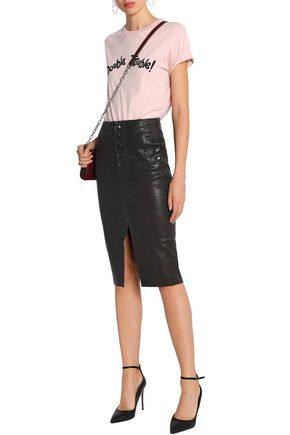 Natasha Button Detailed Leather Skirt by J Brand