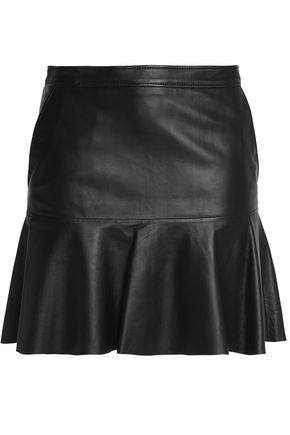 COACH Fluted leather mini skirt