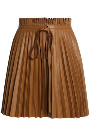 REDValentino Pleated leather mini skirt