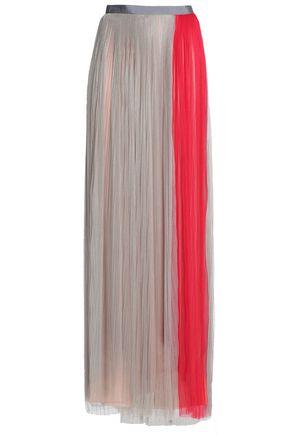 VIONNET Pleated silk-blend tulle maxi skirt