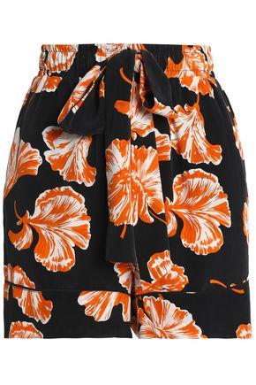 GANNI Floral-print crepe de chine shorts