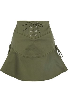 MARISSA WEBB Josie lace-up cotton-blend canvas mini skirt