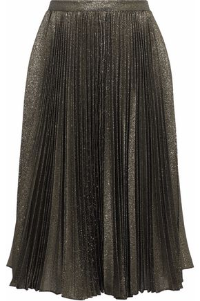 REEM ACRA Pleated lamé skirt
