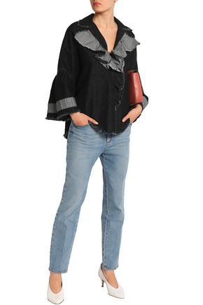 TOME Frayed ruffle-trimmed denim tunic