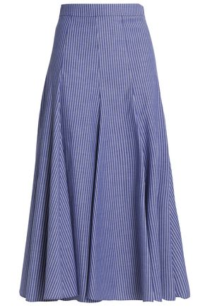 TOME Pleated pinstriped cotton-blend midi skirt