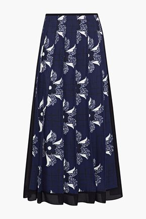 VICTORIA BECKHAM Pleated chiffon-trimmed printed twill midi skirt
