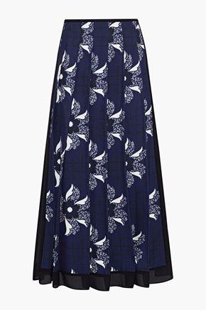VICTORIA BECKHAM | Victoria Beckham Pleated Chiffon-Trimmed Printed Twill Midi Skirt | Goxip