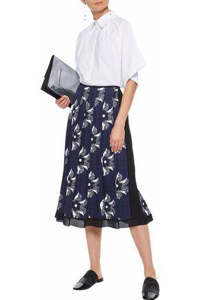 VICTORIA BECKHAM Pleated chiffon-trimmed printed twill midi skirt