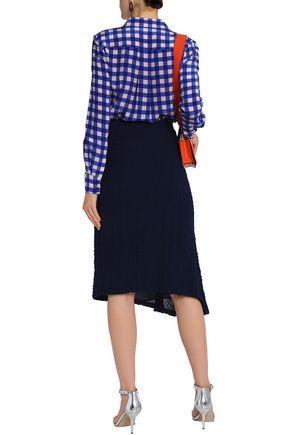 VICTORIA BECKHAM Asymmetric silk-seersucker skirt