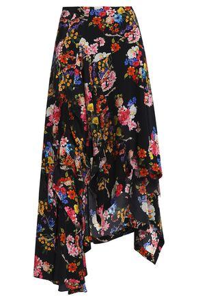PREEN by THORNTON BREGAZZI Veronika asymmetric floral-print silk midi skirt