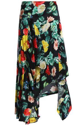 PREEN by THORNTON BREGAZZI Asymmetric floral-print silk crepe de chine skirt