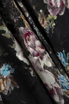 PREEN by THORNTON BREGAZZI Asymmetric devoré floral-print silk-blend chiffon skirt