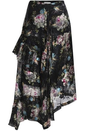 PREEN by THORNTON BREGAZZI Asymmetric chiffon skirt in silk blend with devoré floral print