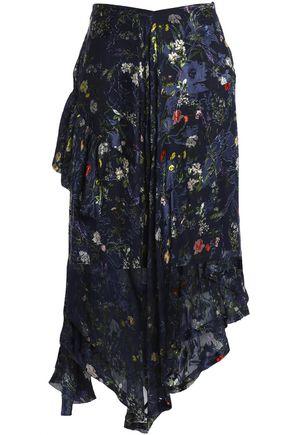 PREEN by THORNTON BREGAZZI Asymmetric floral-print devoré silk-blend chiffon skirt