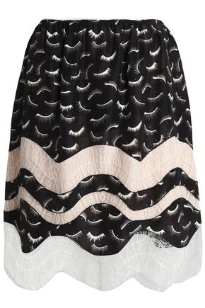 NINA RICCI Lace-trimmed printed silk skirt