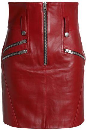 COACH Zip-detailed leather mini skirt
