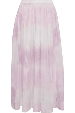 LEMLEM Berhan embroidered dégradé cotton-gauze maxi skirt