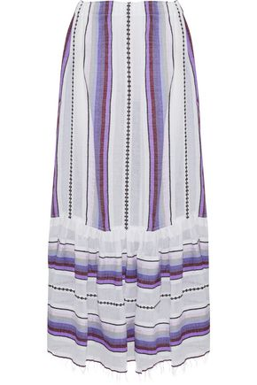 LEMLEM Striped cotton-blend gauze midi skirt