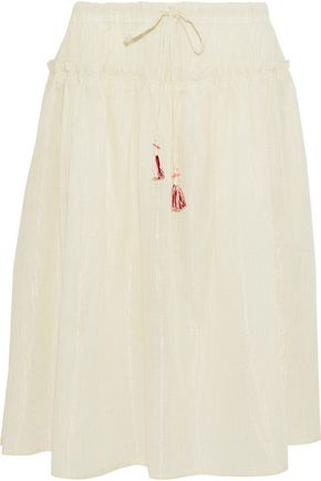 LEMLEM Metallic embroidered cotton and silk-blend skirt