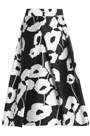 MILLY Pleated printed twill skirt
