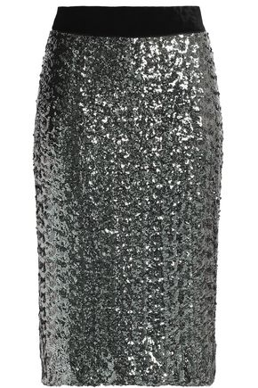 MILLY Velvet-trimmed sequined mesh skirt