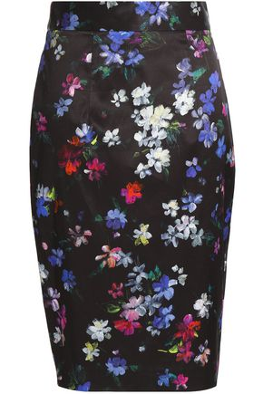 MILLY Floral-print twill skirt