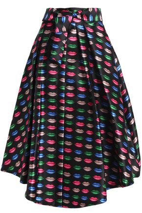 MILLY Pleated printed twill midi skirt