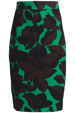 MILLY Printed woven pencil skirt
