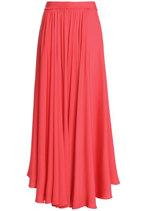 MILLY Pleated stretch-silk maxi skirt