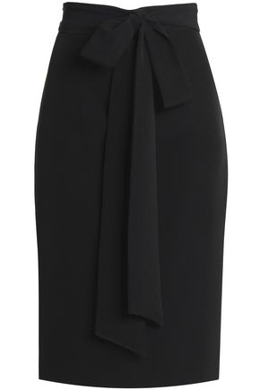 MILLY Tie-front cady pencil skirt