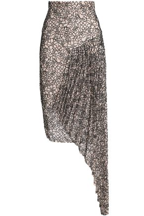 MILLY Draped corded lace skirt