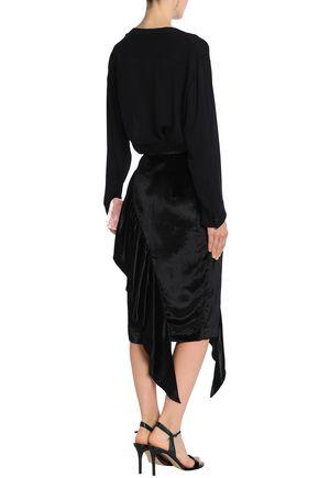 MILLY Angelina asymmetric ruffled velvet skirt