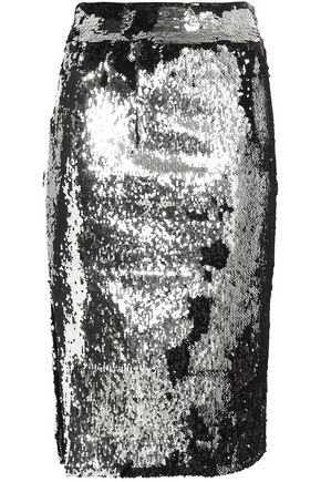 MILLY Sequined mesh skirt